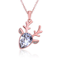 Rose Gold Plated Crystal Moose Antlers Necklace