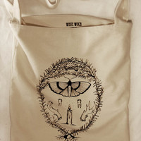 handprinted occult canvas tote bag // original illustration// witchy// moth, candle, teeth, antlers, rosemary