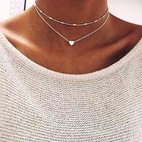 Silver Gold Color Jewelry Love Heart Necklaces Pendants Double Chain Choker Necklace Collar Women Statement Jewelry Bijoux