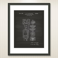 Nuclear Fission 1956 Patent Art Illustration - Drawing - Printable INSTANT DOWNLOAD - Get 5 Colors Background