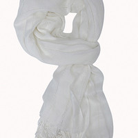 FOREVER 21 Classic Cutout Trim Scarf White One
