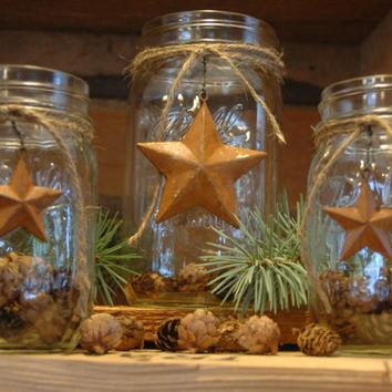 Rustic set of 3 Mason Jars with Barn Stars for your holiday decor
