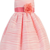 Coral Striped Organza Overlay Dress w Satin Sash 3M-10