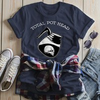 Women's Funny Coffee T Shirt Total Pot Head Shirts Hilarious Coffee Lover Gift Idea Hipster Shirts