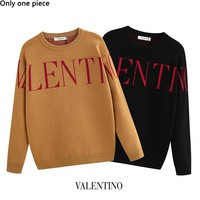 Valentino fashion LOGO knit crew neck sweater hot face casual couples knit sweater