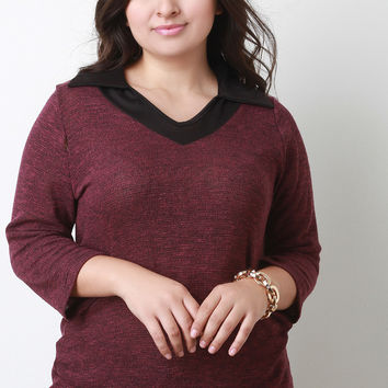 Marled Collar Quarter Sleeves Layered Contrast Top