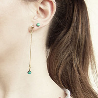Turquoise Drop Earrings, Genuine Turquoise Dangles, Long Turquoise Statement Earrings