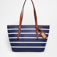 ALDO Hatchet Mini Structured Tote With Luggage Tag On Strap