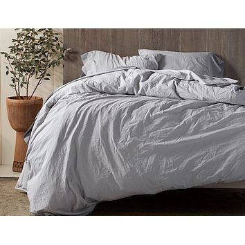 Pewter Organic Crinkled Percale Duvet Cover by Coyuchi