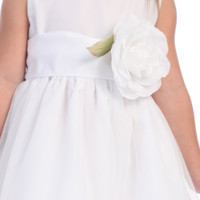 Poly Silk Sash with Flower Pin by Blossom in 19 Color Choices for Girls Dresses