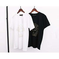Versace 2019 new high quality men's and women's round neck pullover half sleeve t-shirt