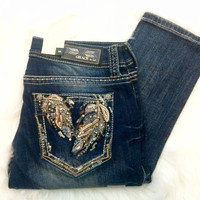 GRACE IN L.A COPPER FEATHERS EASY SKINNY JEANS