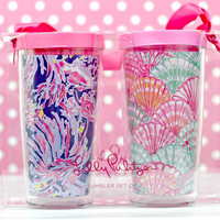 LILLY PULITZER: Insulated Tumbler with Lid Set - Shrimply Chic/Oh Shello