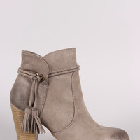 Qupid Burnished Suede Tassel Chunky Heeled Ankle Boots
