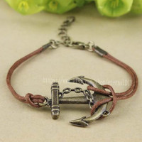Copper brown wax rope anchor bracelet, pirate ships anchor bracelet, navy bracelet