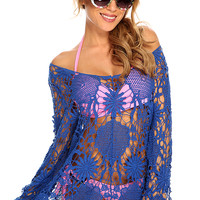 Royal Blue Long Sleeve Floral Crochet Sexy Swimsuit Cover Up