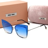 Miu Miu Popular Women Casual Summer Sun Shades Eyeglasses Glasses Sunglasses Blue