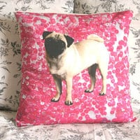 Pink Sequins Pug pillow cover - fits pillow 40x40cm /16x16in