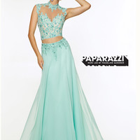 Two Piece High Neck With Open Back Paparazzi Prom Dress By Mori Lee 97080