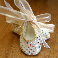 Gold sequin mary jane ballet crib shoes  for baby girl, made to order