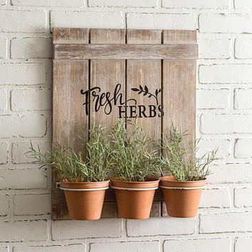 Wooden Fresh Herbs Sign with 3 Pots