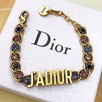 DIOR Vintage color diamond alphabet ladies necklace