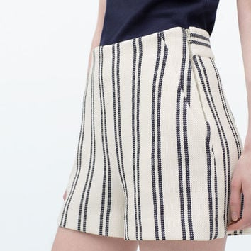 High-waisted striped shorts