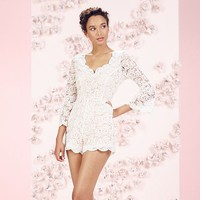 LC Lauren Conrad Runway Collection Open-Back Lace Romper - Women's