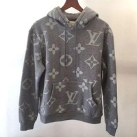 LV Women/Men Casual Letter Print Velvet Long Sleeve hooded Pullover Sweatshirt Top Sweater hoodie Tagre™