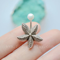 Silvery Starfish belly button ring, Sea star Navel Piercing, friendship belly rings, Belly Button Piercing, Belly jewelry, Body jewelry