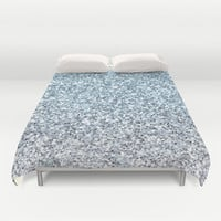 Silver Blue Glitters Sparkles Texture Duvet Cover by Tees2go