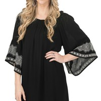 Flying Tomato Women's Black Gauze with White Embroidery 3/4 Bell Sleeve Dress - Plus Size