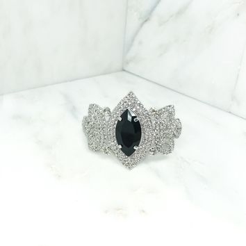 Indie XO Queen of the Nile Sparkling Crystal Rhinestone Black Silver Bangle Clasp Statement Bracelet