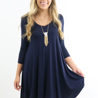 Never Let Go Navy V-Neck Quarter Sleeve Dress