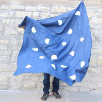 Block Printed Blue Linen  Beach Towel / Throw Blanket