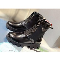PRADA LEATHER WOMEN FASHION SHOES BOOTS HEELS BLACK