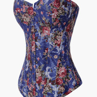 Floral Print Cross Back Lace Corset