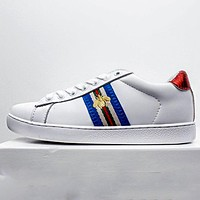 GUCCI 2020 new side embroidered little bee men and women low-top sneakers shoes