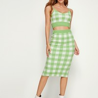 Gingham Print Cami Sweater Top & Pencil Skirt Set
