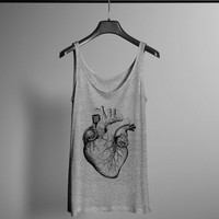 Anatomical Heart Tank - Vintage Anatomy Tank - Hand Drawn Graphic Tank - Graphic Tee- Graphic Tank Top