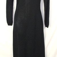 Bloomingdales Sweater Maxi Dress S size Black Long Stretch Fitted Knit