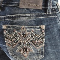 Grace in L.A. Aztec Embroidered Studded Bootcut Jeans - Sheplers