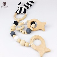 Let's Make 2pcs Cotton Bunny Ear Teething Bracelet Set Can Chew Wood Beads Play Gym Stroller Toy Pram Baby Gifts Wooden Teether