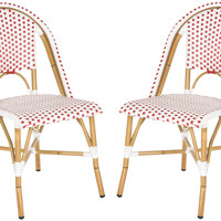 Red Odeon Stackable Side Chairs, Pair, Outdoor Dining Chairs