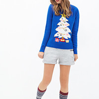 FOREVER 21 Jingle Bells Holiday Sweater Royal/Multi