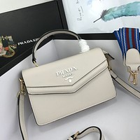 PRADA Women Leather Shoulder Bags Satchel Tote Bag Handbag Shopping Leather Tote