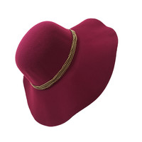 Chain Melody Wool Floppy Hat In Burgundy