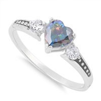 Rainbow Topaz Heart Ring With Cubic Zirconia's