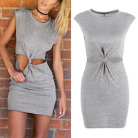 Sexy Women Summer Bodycon Mini Dress O-Neck Short Sleeve Front Knot Party Dress Vestido