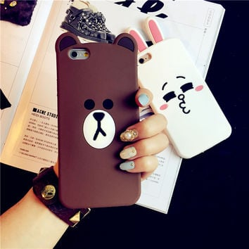 Luxury 3d cute cartoon bear & rabbit ultra thin soft silicone protective cover case for iPhone 5 5s SE 6 6s 7 plus phone bags